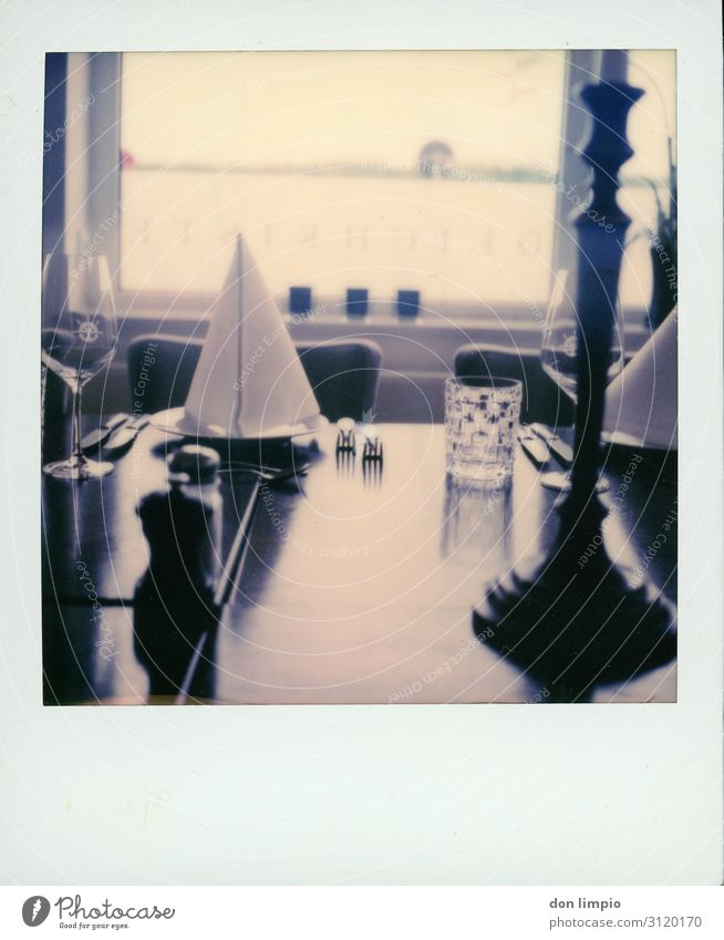 restaurant Nutrition Gastronomy Culture Expectation To enjoy Arrangement Quality Services Moody Polaroid Subdued colour Interior shot Close-up Copy Space bottom