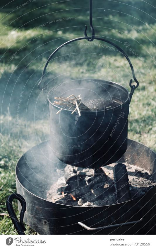 I'm gonna make my own soup. Nutrition Pot Utilize Observe Eating Fire Smoke Wood Suspended Soup Exterior shot Camping Past Simple Primordial Boiler Colour photo