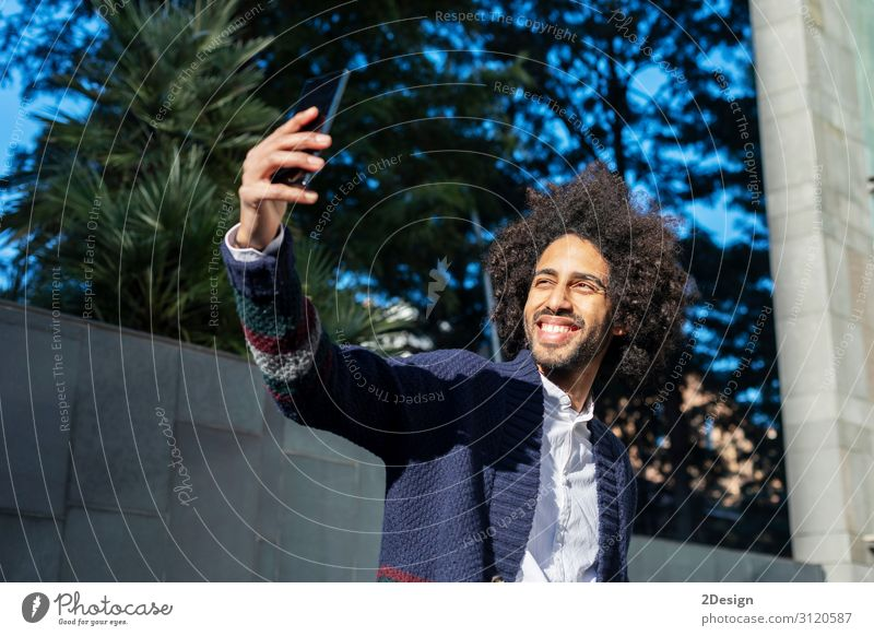 young afro american man smiling happy taking selfie Human being Youth (Young adults) Man Young man White Joy Black 18 - 30 years Face Lifestyle Adults Happy