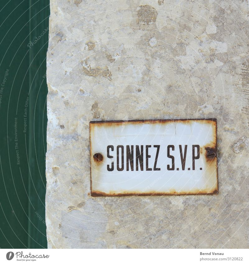 comment Small Town Old sun Bell Signs and labeling Demand Desire Rust Enamel Wall (barrier) Entrance Name plate French Foreign countries Vacation & Travel