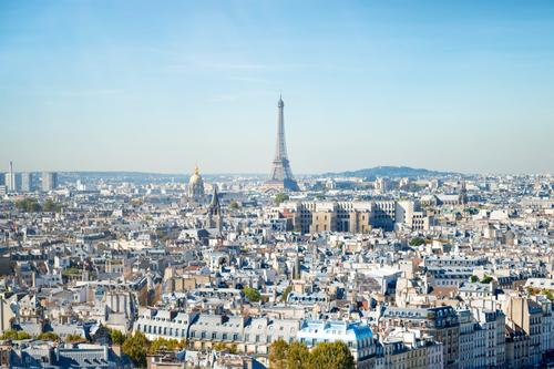 Paris cityscape with Eilffel tower Sky Vacation & Travel Summer Blue Town Beautiful Green White Landscape Tree House (Residential Structure) Far-off places