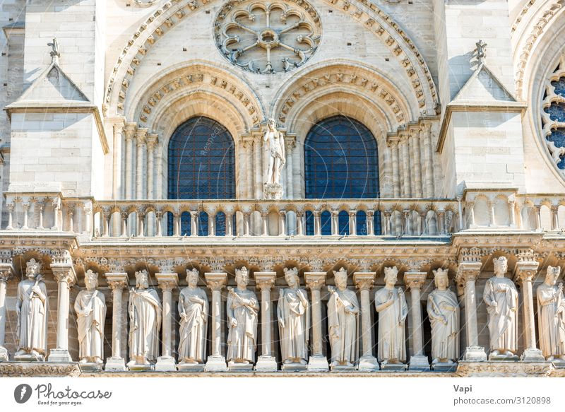 Details on facade of Notre-Dame de Paris Vacation & Travel Old Town White Window Architecture Religion and faith Yellow Wall (building) Style Building Tourism
