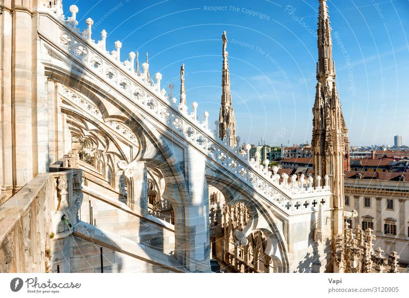 White statue on top of Duomo cathedral Sky Vacation & Travel Old Summer Blue Town Landscape Red Architecture Religion and faith Yellow Building Tourism Stone