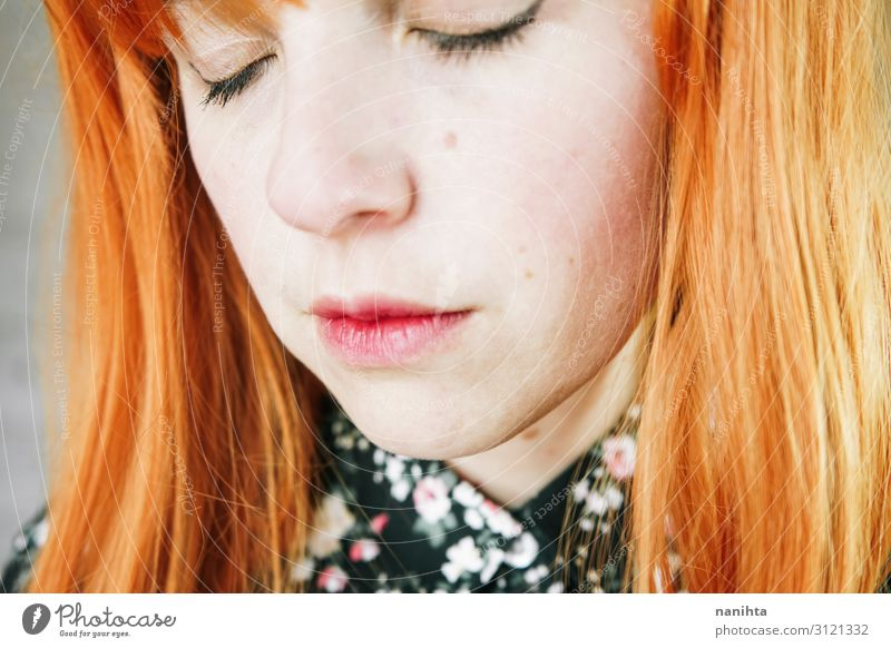 Portrait of a upset young redhead woman Hair and hairstyles Skin Face Human being Feminine Woman Adults Red-haired Wig Sadness Authentic Natural Cute Anger