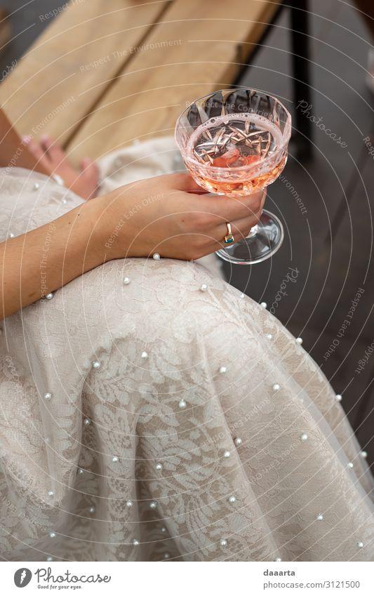 enjoying Beverage Drinking Alcoholic drinks Sparkling wine Prosecco Champagne Longdrink Cocktail Glass Lifestyle Elegant Style Joy Harmonious
