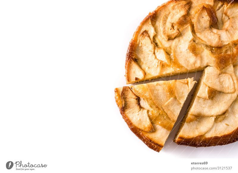 Homemade slice apple pie isolated on white background. Apple Pie Dessert Baked goods Slice Fruit Food Healthy Eating Food photograph Autumn Dough tart Seasons