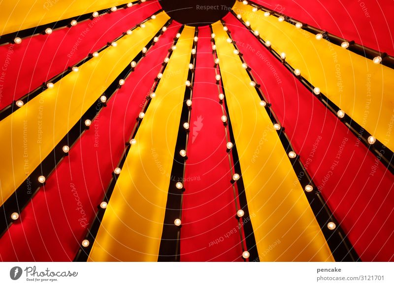 colour combination | and in the evening with lighting Circus Circus tent Yellow Red Light Lamplight Event Fairs & Carnivals Sky Tent Tarpaulin Entertainment