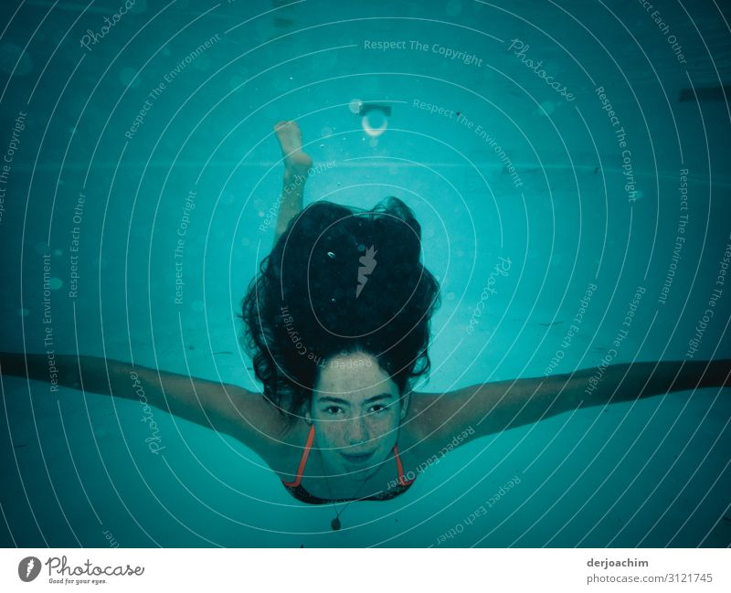 My swimming mouse under water. She looks at the viewer with outstretched arms. Aquatics Swimming & Bathing Swimming pool Feminine Young woman