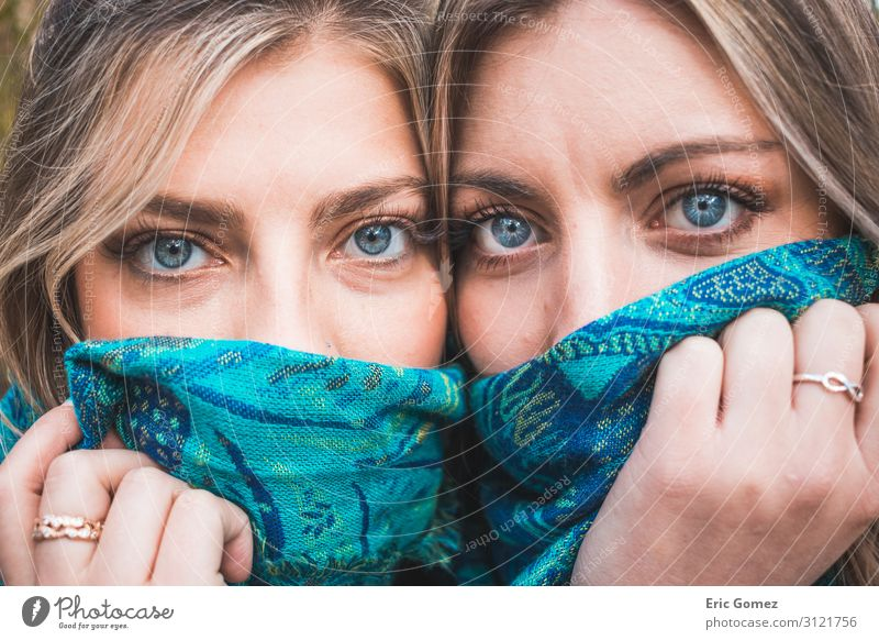 Two blonde blue-eyed women close-up Human being Youth (Young adults) Young woman Blue Beautiful 18 - 30 years Eyes Adults Natural Feminine Bright Elegant Blonde