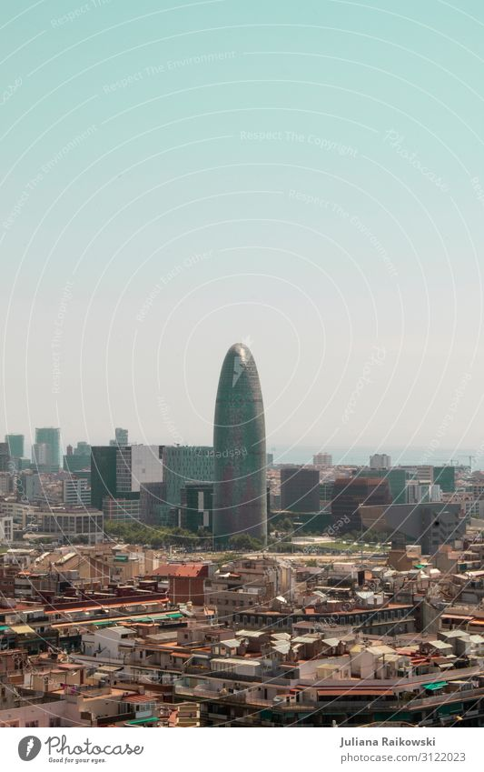 View from the Sagrada Familia to the Torre Agbar Barcelona Spain Europe Town Capital city Downtown Skyline High-rise Architecture Tourist Attraction Landmark