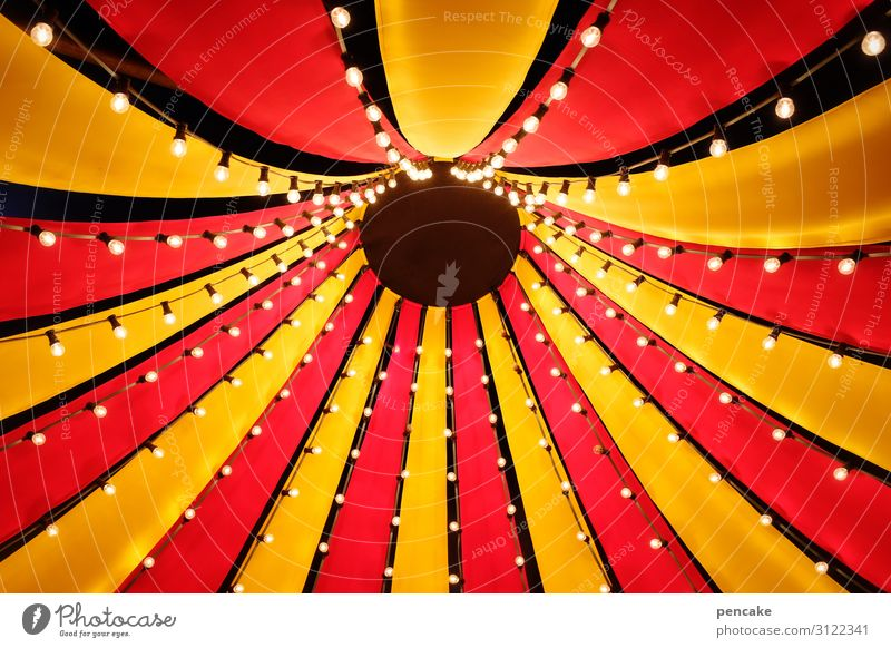 What a circus! Decoration Lamp Architecture Circus Happiness Tall Yellow Red Colour Leisure and hobbies Joy Infancy Culture Art Center point Nostalgia