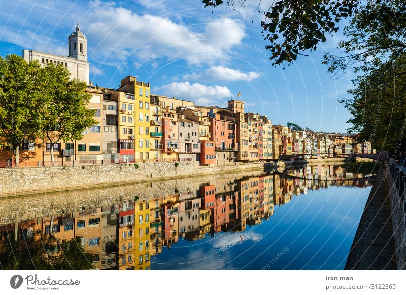 Colorful houses at river Onyar in Girona, Catalonia Spain Beautiful Vacation & Travel House (Residential Structure) Landscape River Town Capital city Building