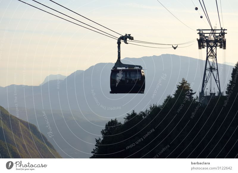 In the gondola l lifted off Vacation & Travel Trip Landscape Elements Sky Sunlight Forest Alps Mountain Dolomites Italy South Tyrol Cable car Gondola Driving