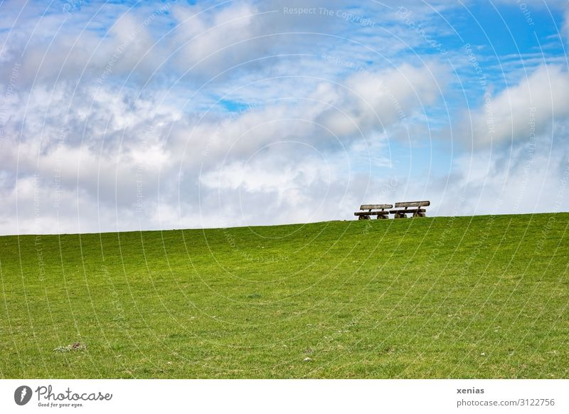 There are two benches on the dike...in good weather Park bench Dike Nature Landscape Sky Clouds Spring Summer Climate Beautiful weather Grass Meadow Coast