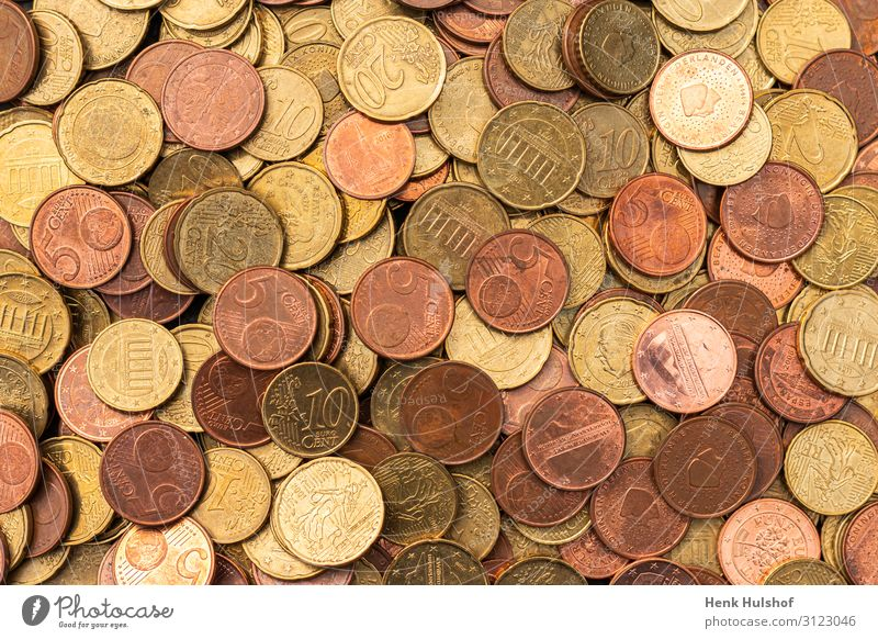 Lots of copper colored euro coins Metal Value Coin Money Copper Paying Euro Multiple Colour photo Interior shot Studio shot Close-up Deserted Artificial light