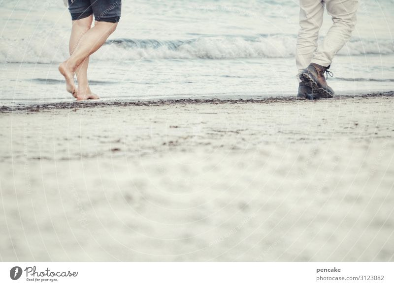 walk of two Human being Masculine Feminine Legs Feet 2 Nature Landscape Elements Sand Autumn Waves Coast Baltic Sea Movement Going To enjoy Walking Hiking Cold