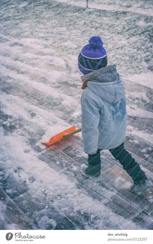 Snow-shoving boy House (Residential Structure) Garden Masculine Boy (child) 1 Human being 3 - 8 years Child Infancy Winter Ice Frost Snowfall Jacket Boots Cap