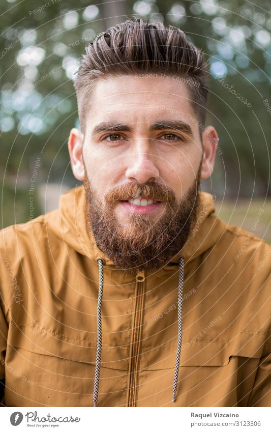 Portrait of a young guy with a beard Happy Face Human being Man Adults Facial hair 1 30 - 45 years Nature Autumn Park Sweater Jacket Beard Smiling White