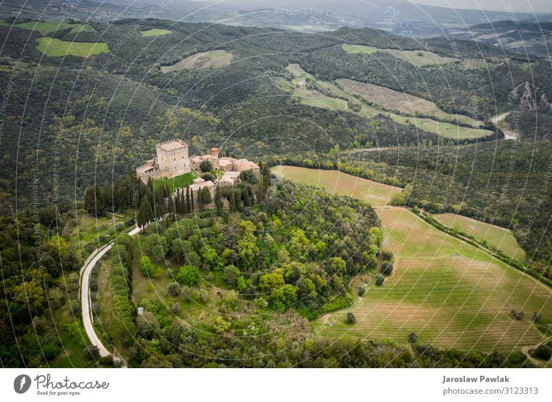 Ripa d'Orcia castle in Tuscany photo from the drone old landscape travel medieval architecture europe tourism building outdoor aerial historic ancient romantic