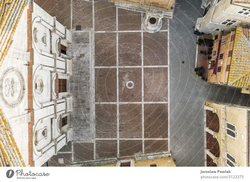 The main square in Pienza, Tuscany, photo from above, taken from the drone. ancient old italian historic architecture tuscany italy pienza town travel city