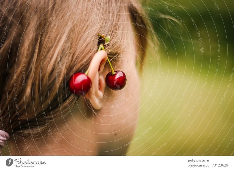Cherries behind a girl's ears Lifestyle Style Healthy Eating Fitness Wellness Well-being Leisure and hobbies Summer vacation Girl Young woman