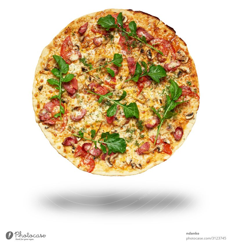 baked round pizza Meat Sausage Cheese Vegetable Dough Baked goods Lunch Dinner Fast food Restaurant Fresh Hot Yellow Green Red White Tradition Rucola Baking