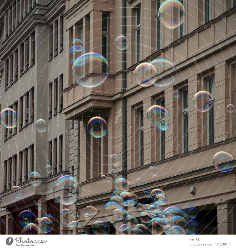 street cleaning Downtown Berlin House (Residential Structure) Wall (barrier) Wall (building) Facade Window Soap bubble Go up Fantastic Together Glittering Round
