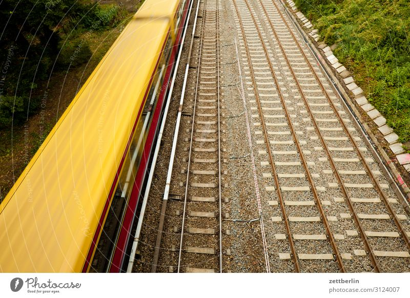 suburban train Railroad Track Motion blur Railroad tracks Haste Public transit Commuter trains Berlin sleepers Rail transport Speed Logistics Passenger traffic