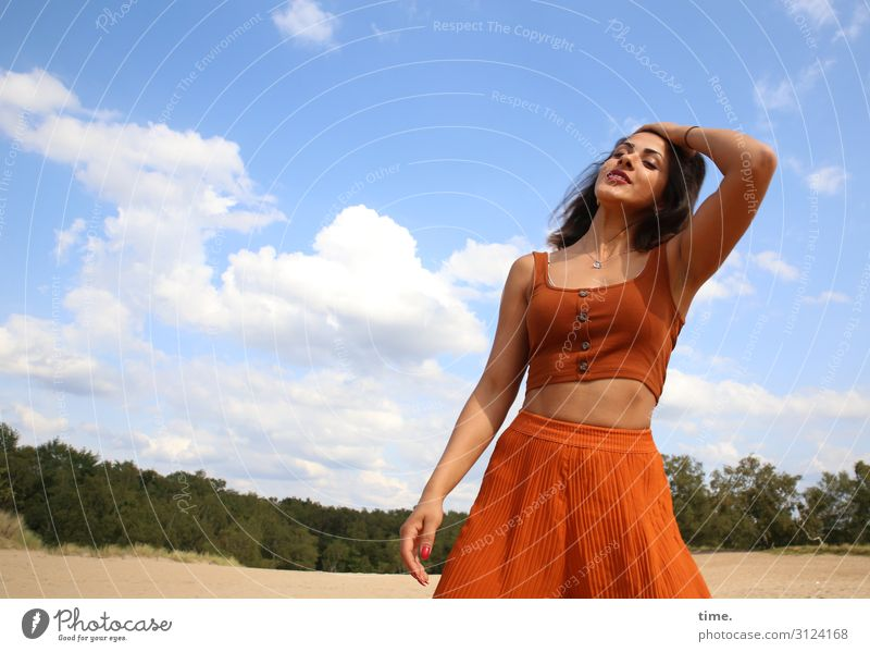 Estila Feminine Woman Adults 1 Human being Environment Nature Landscape Sand Sky Clouds Horizon Forest Skirt Top Brunette Long-haired Touch Movement Relaxation