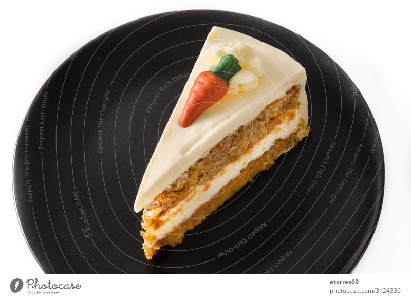 Sweet carrot cake slice on a plate isolated Baked goods Cake Dessert Food Healthy Eating Food photograph Cream Pie chocolate Plate White Slice