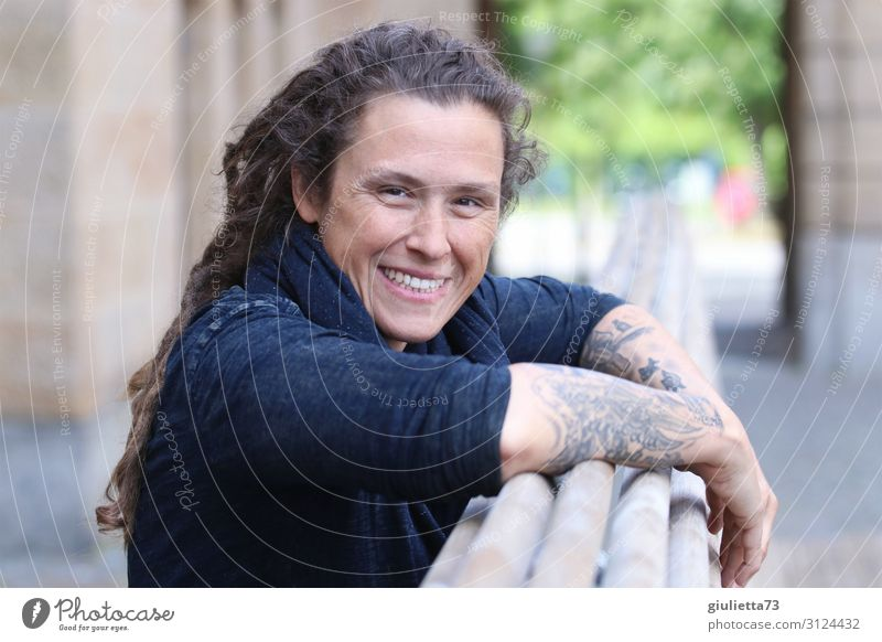 Just be happy AST 10 Chemnitz Young woman Youth (Young adults) Woman Adults Life Human being 30 - 45 years Town Tattoo Long-haired Curl Dreadlocks Punk Smiling