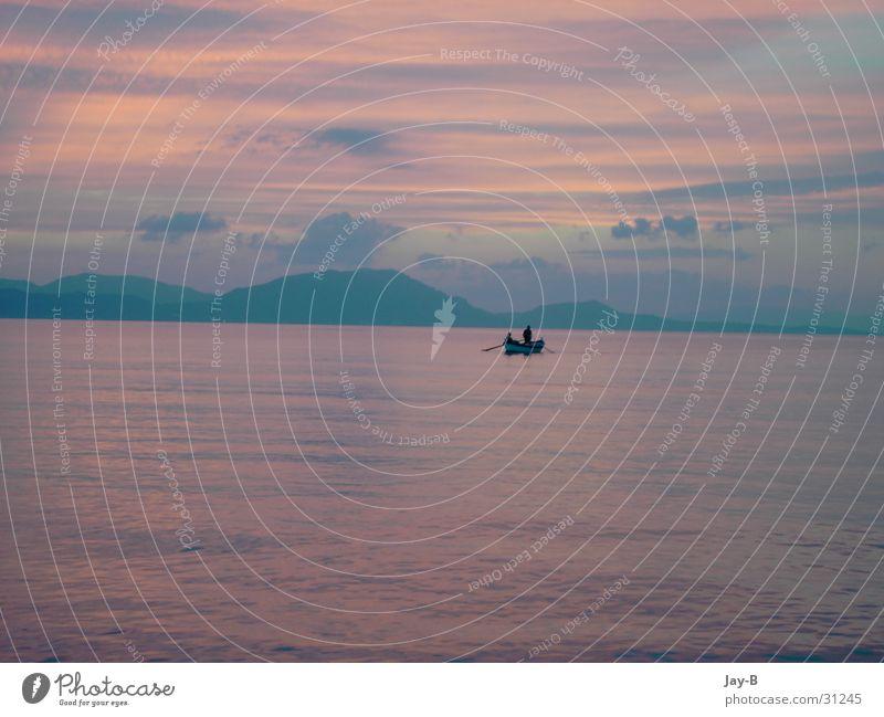 Water Sun Ocean Clouds Colour Mountain Watercraft Romance Greece Fisherman Fishing boat Play of colours Corfu