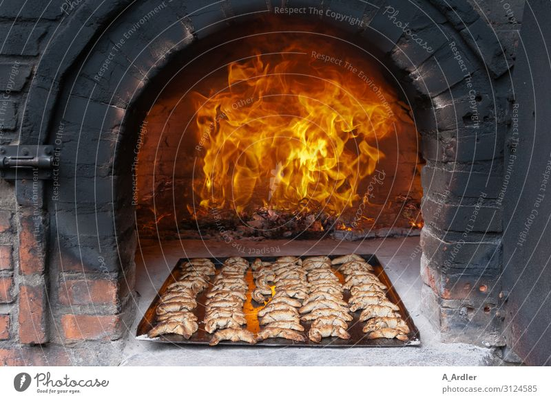 Hellfire in a stone oven with pastries Food Dough Baked goods Roll Croissant Nutrition Baking tray Kitchen Elements Fire Stove & Oven Stone Smoke Eating