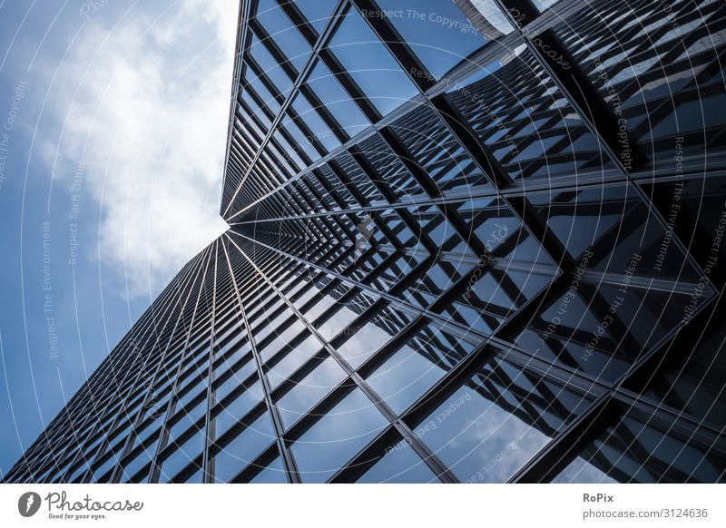 Abstract view of a skyscraper. Vacation & Travel Town Window Architecture Lifestyle Business Tourism Facade Work and employment Office Design Modern High-rise