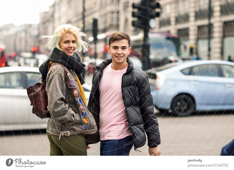 Happy couple of friends enjoying view during travel in London. Lifestyle Joy Beautiful Vacation & Travel Tourism Sightseeing Human being Masculine Feminine