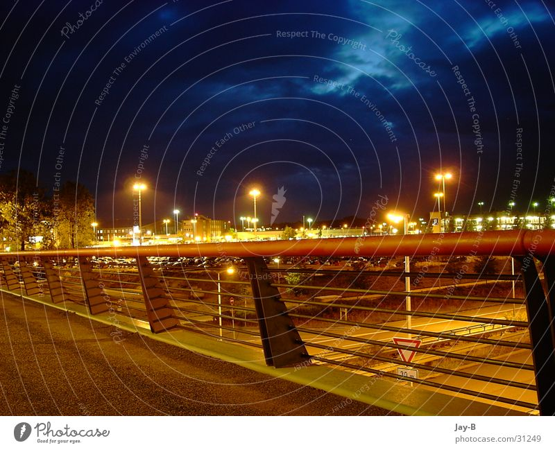 Mystik Airport Night Mystic Raincloud Long exposure Sky Street Thunder and lightning Bridge Handrail Hamburg grouch