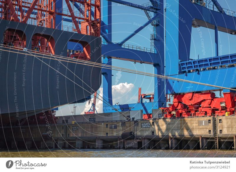Containerhafen Hamburg Technology High-tech Industry Transport Logistics Navigation Container ship Oil tanker Harbour Anchor Blue Gray Red Germany Cargo-ship