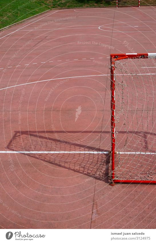 old soccer goal sports equipment on the street Soccer Playing field Court building Red Soccer Goal Net Internet Rope Sports Sports equipment abandoned Old