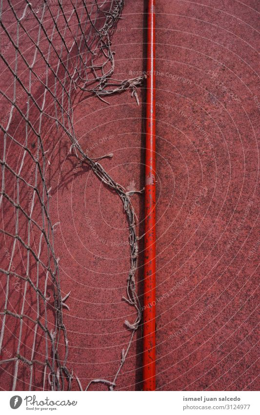 old abandoned soccer goal sports equipment Soccer Playing field Court building Red Soccer Goal Net Internet Rope Sports Sports equipment Abandon Old Street Park