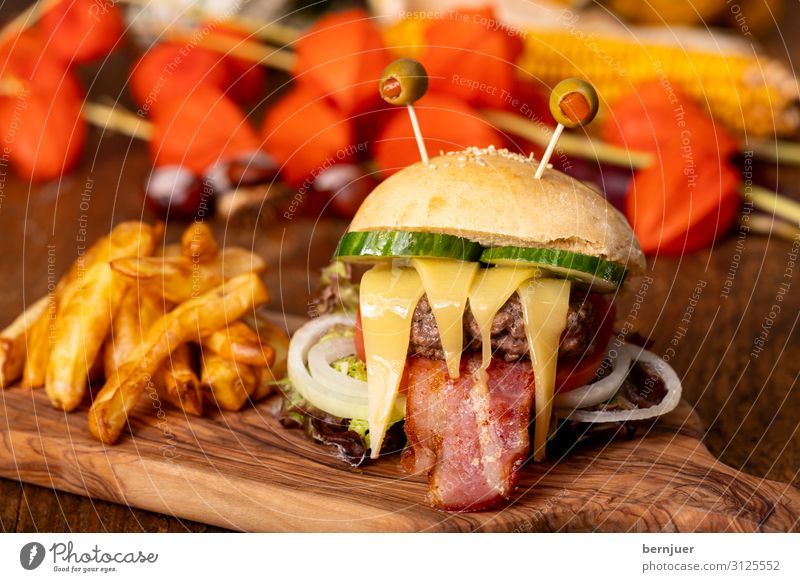 Monster burger for Halloween Food Vegetable Roll Fast food Threat Delicious Funny French fries Hamburger Cheeseburger Olive Bacon Goggle eyed Hallowe'en