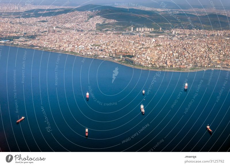 Istanbul freight transport Outskirts Capital city Panorama (View) Bird's-eye view Settlement Housing area The Bosphorus Wanderlust Harbour Downtown Town Ocean