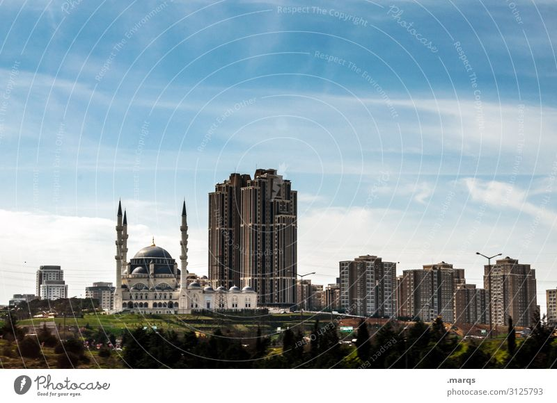 cityscape Sky Summer Beautiful weather Istanbul Outskirts House (Residential Structure) High-rise Building Architecture Mosque Living or residing Moody Life