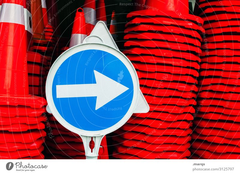 Arrow to the right Transport Traffic cone Road sign Blue Red White Colour Lanes & trails Target Orientation Colour photo Exterior shot Close-up Deserted