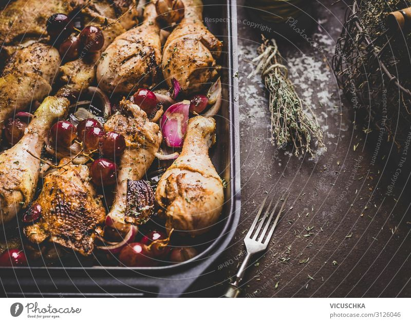 Roasted chicken legs with red onions and grapes Food Nutrition Dinner Crockery Style Design Kitchen Restaurant Chicken Cooking Food photograph Eating Dish Onion