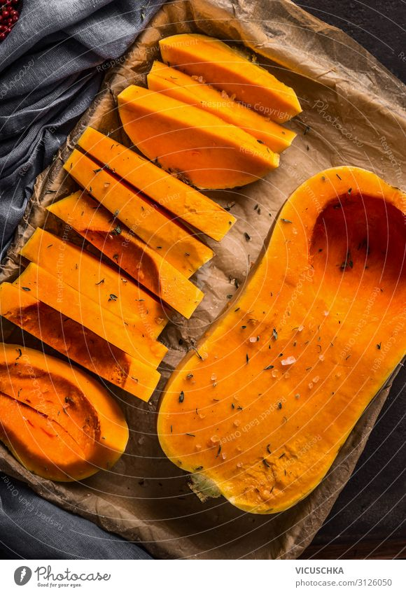 Butternut pumpkin on baking tray Food Vegetable Nutrition Organic produce Vegetarian diet Diet Style Design Healthy Eating Thanksgiving Cooking Vegan diet