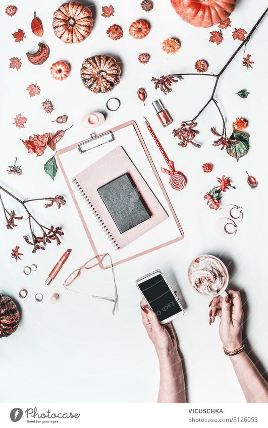 Women's hands with smartphone on desktop Style Design Cosmetics Education Office work Business Cellphone PDA Internet Human being Woman Adults Hand Paper