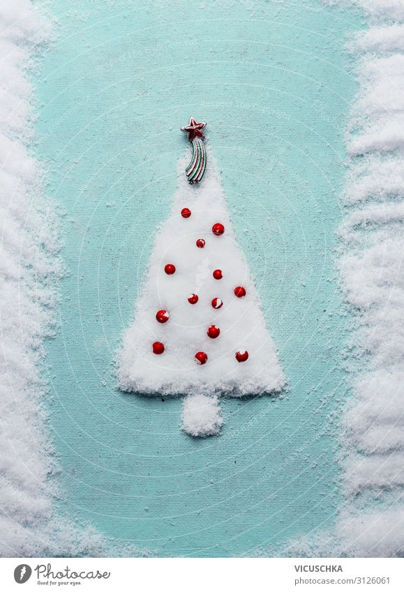 Christmas tree made of snow on a blue background Style Design Winter Snow Feasts & Celebrations Christmas & Advent Decoration Tradition Background picture