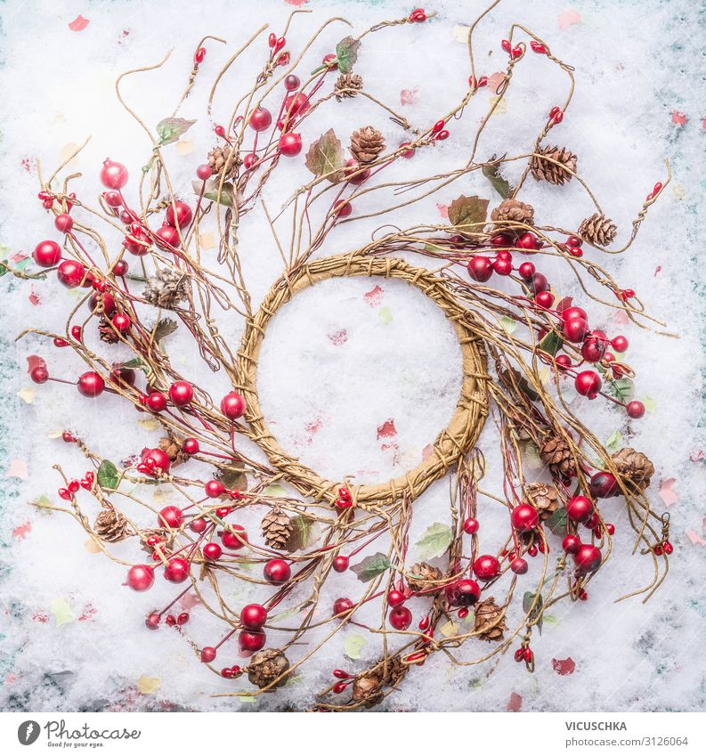 Christmas wreath with red berries on snow Style Design Winter Snow Party Event Feasts & Celebrations Christmas & Advent Nature Decoration Ornament Tradition