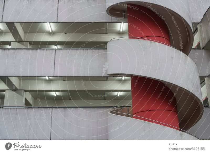 urban architecture Parking garage Parking lot Transport Town city car Vehicle Garage Underground garage Building Architecture Concrete concrete Room Mirror