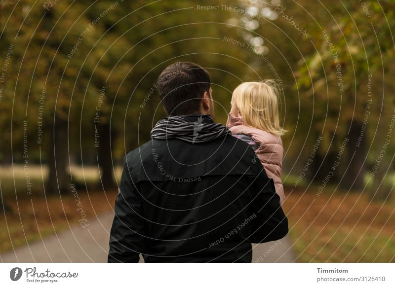 Out in the open! Vacation & Travel Trip Human being Toddler Girl Man Adults Father 2 Environment Nature Plant Autumn Beautiful weather Tree Avenue